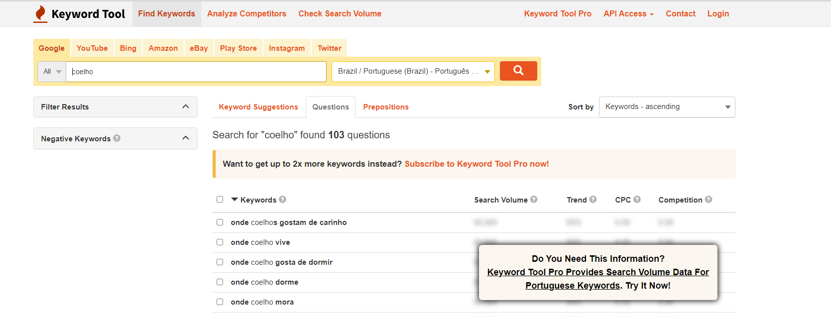 ferramentas de palavras-chave, keyword tool