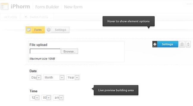 Formulários de contato